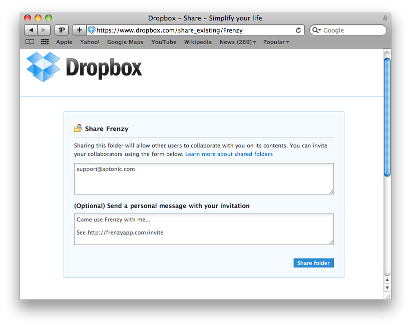 Frenzy - The Dropbox powered social network